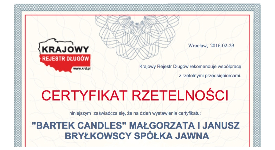 KRD Certificate of Reliability for Bartek Candles
