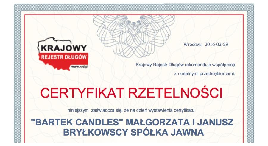 Zuverlässigkeitszertifikat des KRD (Polnisches Schuldnerverzeichnis) für Bartek Candles